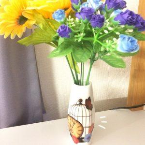 花瓶にデコパージュ