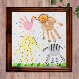 家族で手形アート飾り